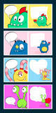 Happy valentines day cards with cute monster blue, horn, heart, speech bubble.  Cartoon illustration. Royalty Free Stock Photography
