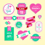 Happy valentines day cards element set. Royalty Free Stock Images