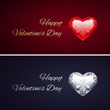 Happy Valentines Day Cards with Gems Royalty Free Stock Photography