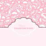 Happy valentines day cards with hearts and frame Royalty Free Stock Images