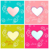 Happy valentines day cards with hearts. Royalty Free Stock Photo