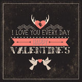 Happy valentines day cards with  hearts, ribbon, a Royalty Free Stock Photo