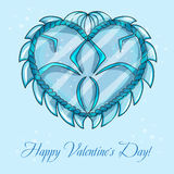 Happy valentines day cards with ice heart Stock Photos