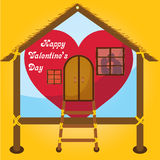 Happy valentines day cards kissing on window in  Happy house Stock Images