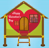 Happy valentines day  cards kissing on window in Happy house Royalty Free Stock Images