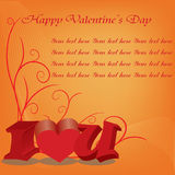 Happy valentines day cards with ornament. S, hearts, ribbon, angel and arrow Stock Images