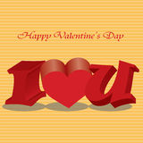 Happy valentines day cards with ornament. S, hearts, ribbon, angel and arrow Stock Photo