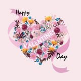 Happy Valentines day cards with ornaments, hearts, frame. Typography  flower create heart Stock Images