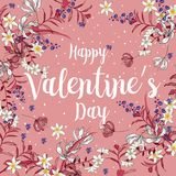 Happy Valentines day cards with ornaments, hearts, frame. typogr. Aphy  flower with snow on pink Royalty Free Stock Photography