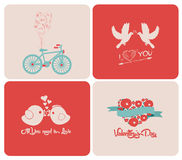 Happy valentines day cards with ornaments, hearts, ribbon, arrow, and typewriter Royalty Free Stock Images