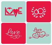 Happy valentines day cards with ornaments Stock Image