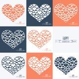 Happy Valentines day cards. Set of heart sign symbols. Heart of many hearts. Stock Photography