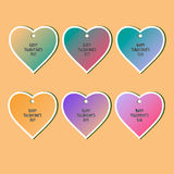 Happy Valentines Day Cards Set for Holiday Labels Design. Stock Photography