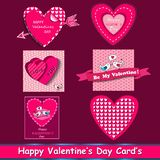 Happy valentines day cards set. Royalty Free Stock Photography