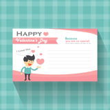 Happy valentines day cartoon with pink heart greeting cards, pink and blue pattern background vector Royalty Free Stock Photography