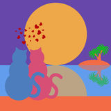 Happy Valentines Day Cats in Love Tropical Royalty Free Stock Photography