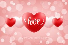 Happy Valentines Day celebrate background with handwritten word Love and realistic hearts. 14 february holiday greetings. Vector Illustration Royalty Free Stock Photos
