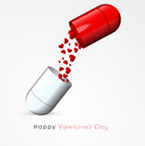 Happy Valentines Day celebration with capsule. Royalty Free Stock Images