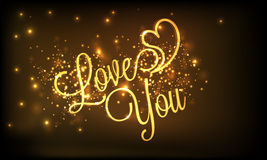 Happy Valentines Day celebration with golden text. Royalty Free Stock Photo