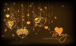 Happy Valentines Day celebration greeting card. Beautiful greeting card decorated by golden hanging hearts and text Be My Valentine for Happy Valentines Day Royalty Free Stock Photos