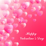 Happy Valentines Day celebration greeting card decorated with pink hearts. Royalty Free Stock Images