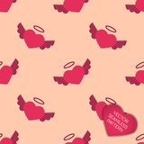 Happy Valentines day collection background. Seamless pattern with angel hearts Royalty Free Stock Images