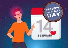 Happy Valentines Day Concept Banner Young Man Holding Calendar Page 14 February. Flat Vector Illustration Stock Illustration