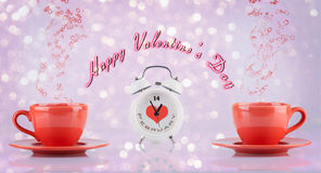 Happy Valentines Day concept with cups and clock Royalty Free Stock Image