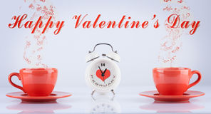 Happy Valentines Day concept with cups and clock Royalty Free Stock Photo