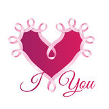 Happy Valentines Day concept. Pink Ribbon Heart. Vector Illustration Royalty Free Stock Images