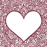 Happy Valentines Day congratulation card with mandala ornament. Royalty Free Stock Photo