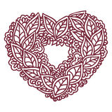 Happy Valentines Day congratulation card with mandala ornament. Royalty Free Stock Photos