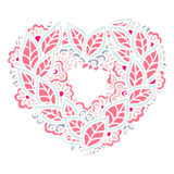 Happy Valentines Day congratulation card with mandala ornament. Stock Photo