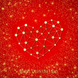 Happy Valentines Day. Connected lines and dots. Red background with golden sparkles. Vector illustration Stock Photography
