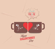 Happy valentines day with couple cup of coffee Royalty Free Stock Image