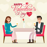 Happy Valentines day. Couple on a date in restaurant. Flat style vector illustration Royalty Free Stock Photo