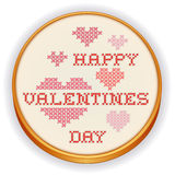 Happy Valentines Day Cross Stitch Embroidery. Retro wood embroidery hoop with cross stitch needlework sewing design, Happy Valentines Day with big red and pink Royalty Free Stock Images