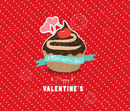 Happy valentines day cupcake sweet love Royalty Free Stock Images