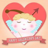 Happy Valentines day cupid in heart shape stock illustration