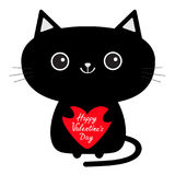 Happy Valentines Day. Cute black cat icon holding red heart. Funny cartoon character. Kawaii animal. Tail, whisker, big eyes. Kitt Stock Photography