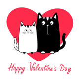 Happy Valentines Day. Cute cartoon black white cat boy and girl family. Royalty Free Stock Photo