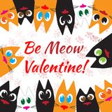 Happy Valentines Day Cats Greeting card. Flat design style. Happy Valentines Day Cute Cats Greeting card with cats different colors. Flat design style. Be my Royalty Free Stock Photography