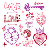 Happy Valentines day. Cute doodle collection with hearts Royalty Free Stock Photography