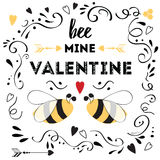 Happy Valentines Day with cute quote and bee. Happy valentines day card with cute positive quote `Bee my Valentine` decorated love bee, arrow, hearts and doodle vector illustration