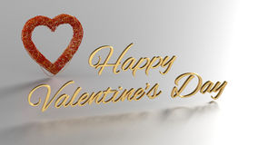 Happy Valentines Day 3D Render with gold text and red heart Stock Photos