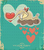 Happy Valentines Day Design. Elephant on the cloud Royalty Free Stock Photos