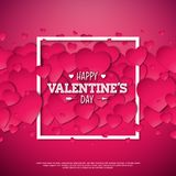 Happy Valentines Day Design with Heart on Shiny Red Background. Vector Wedding and Love Theme Illustration for Greeting. Card, Party Invitation or Promo Banner Royalty Free Stock Photo