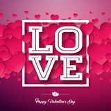 Happy Valentines Day Design with Red Heart on Shiny Background. Vector Wedding and Love Theme Illustration for Greeting. Card, Party Invitation or Promo Banner Royalty Free Stock Photo