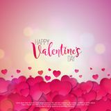 Happy Valentines Day Design with Red Heart on Shiny Pink Background. Vector Wedding and Love Theme Illustration for. Greeting Card, Party Invitation or Promo Royalty Free Stock Photos