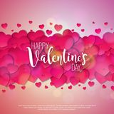 Happy Valentines Day Design with Red Heart on Shiny Pink Background. Vector Wedding and Love Theme Illustration for. Greeting Card, Party Invitation or Promo Royalty Free Stock Photography